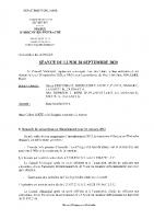 Compte rendu Conseil Municipal 28 septembre 2020